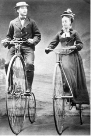 A gentleman taking his favourite lady for a ride to the 'fake scenery' shoppe.