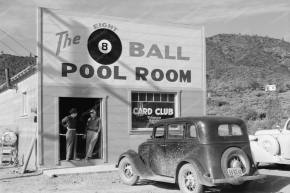 Don't be fooled by the 1940s automobile or the men with hats. This is an 8-ball hut. Gentleman should be at least three furlongs away from these at all times