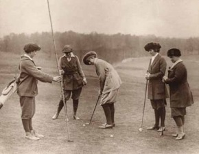 Here we see a group of gentle-ladies putting in their plus plus fours.  For these women the putter might not be their second wife, but more of a mistress or concubine.