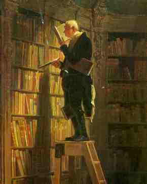 It may look like this gentleman has many more books than scotch, but actually he just stores his scotch reserve on the top shelf behind dusty almanacks for safekeeping.