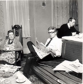 Michael Caine liked to read the paper while people sat around him drinking tea.