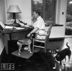 Ian Fleming lived in the days before the internet (although, The Gentleman Blog still existed in broadsheet format). Here he is co-writing a novel with his two dogs.