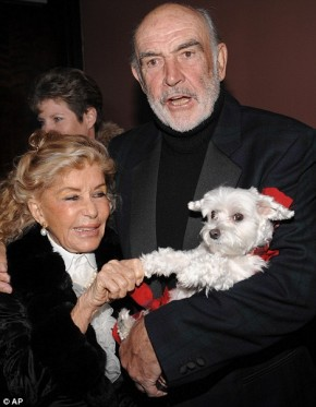 Sean Connery counters his immense masculinity with his dog.  Unfortunately for him he has been married for 36 years and has had to have a dog with him the whole time (pictured)
