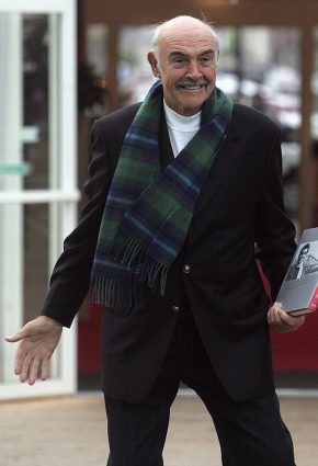 No one would dare attack Sean Connery now that he's armed with both a scarf and his hard-cover autobiography.