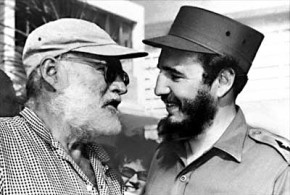 Enest Hemingway and Fidel Castro about to do a beard dual.  Hemingway won to tie the series.