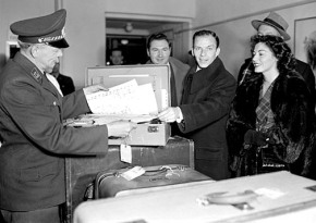 Sinatra at Customs proving that he did in fact consume four gallons of Scotch and smoke two boxes of cigars in a 90 minute train trip.