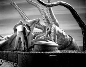 Kirk Douglas earns his sea legs by defeating this kraken.  Tip: go for the wires controlling it's tentacles.