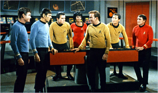 Not only do they wear primary coloured uniforms in the future, you can be that there are people of every race on the bridge of a starship.  There is even Spock who was of course Jewish.