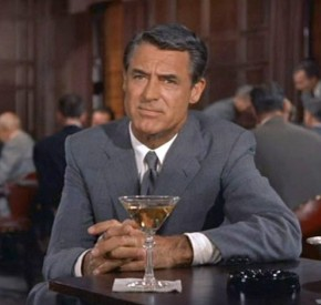Cary Grant gathers his thoughts via a gentlemanly pose whilst enjoying a delicious beverage.