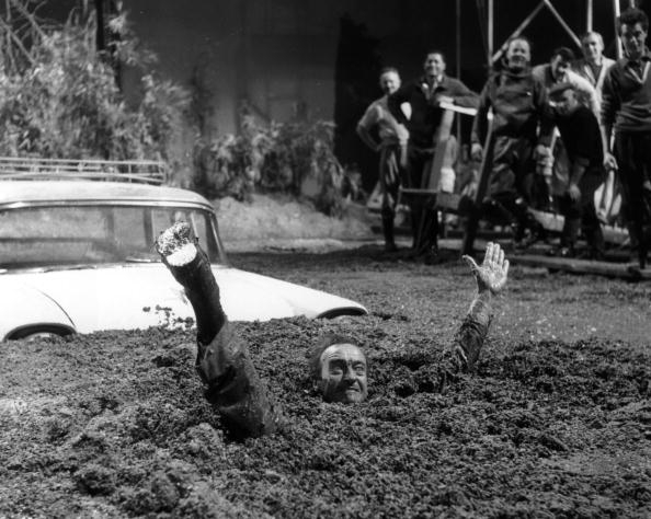 David Niven's car comes to the rescue after he stumbled across some quicksand.